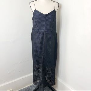 NWT Topshop Navy Blue Black Midi Dress 12